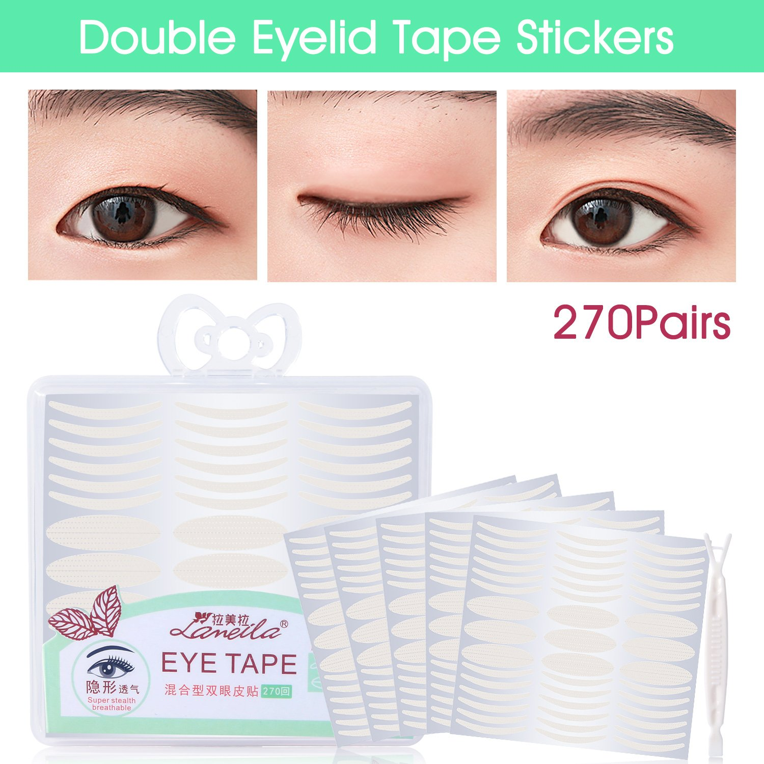 Lameila Ultra Invisible Fiber Double Eyelid Tape Stickers Instant
