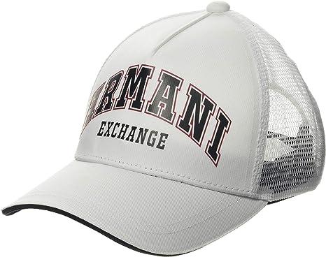 Armani Exchange Logo Patch Trkr-Mesh Gorra de béisbol, Blanco ...