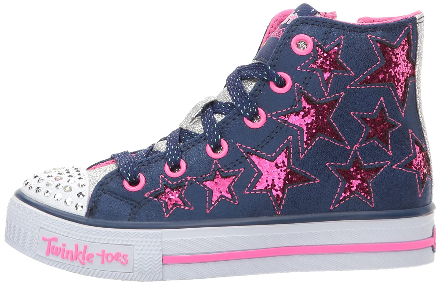 Girls' Skechers Twinkle Toes Shuffles Rockin Stars High Top NavyHot Pink | Shopping The Best Deals on Sneakers