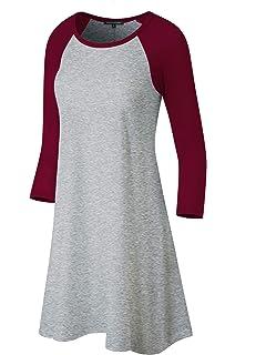 032831db Fashion California FACA Womens Baseball 3/4 Raglan Sleeve Jersey Tunic Dress