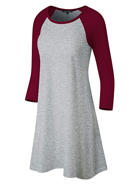 91fa3a8c Fashion California FACA Womens Baseball 3/4 Raglan Sleeve Jersey Tunic  Dress (Small,