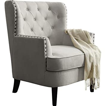 Amazon.com: Wingback Chair   Tufted Oversized Armchair Wiht Nailhead Trim  Accent (Beige): Kitchen U0026 Dining