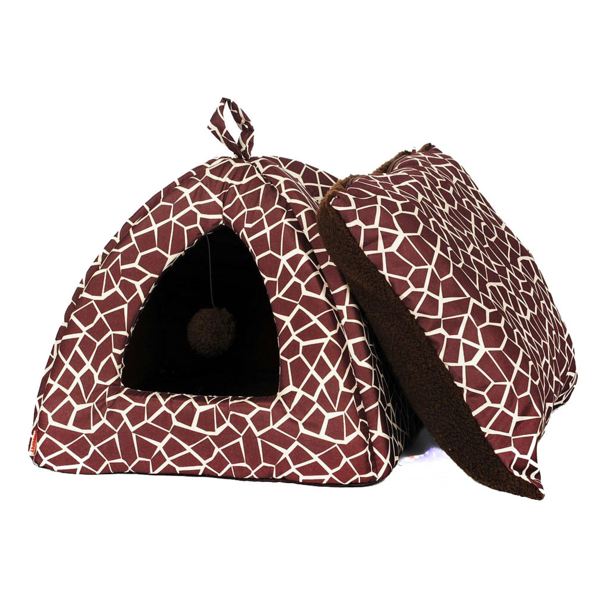 Tent Shape Pet Dog Cat House Bed by PrettyPet! Indoor Washable House Lounger with Waterproof Removable Cushion and Pet Toy for Small and Medium Pets. Let your dog relax with a real comfort!