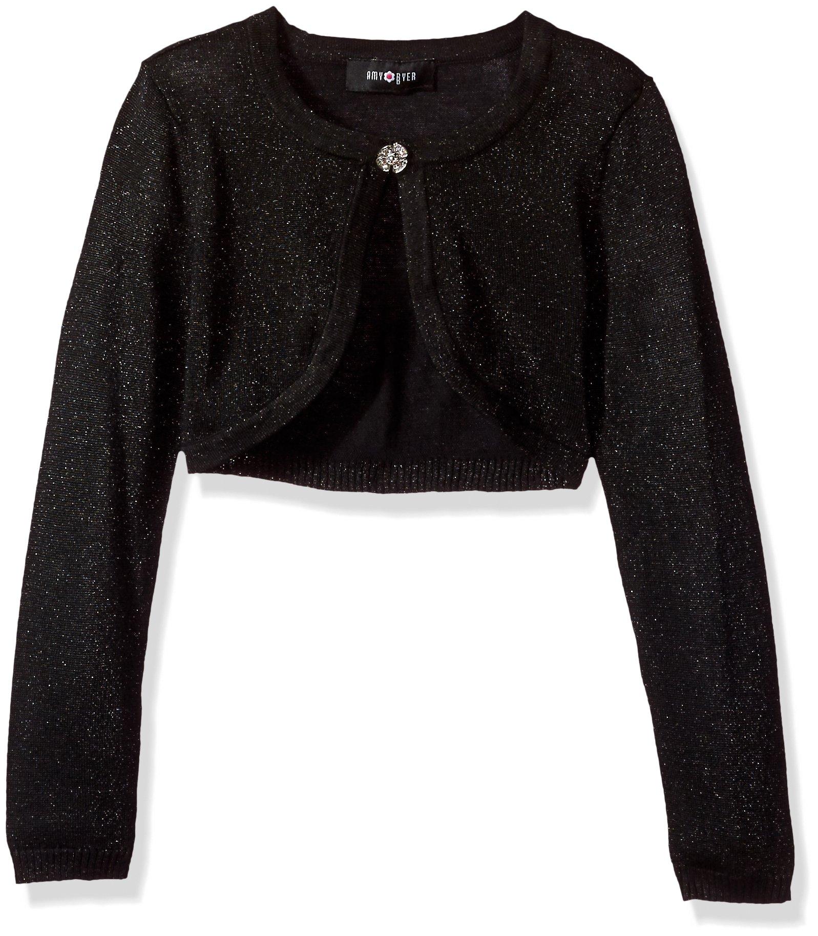 Amy Byer Big Girls' Long Sleeve Metallic Cardigan, Black, M