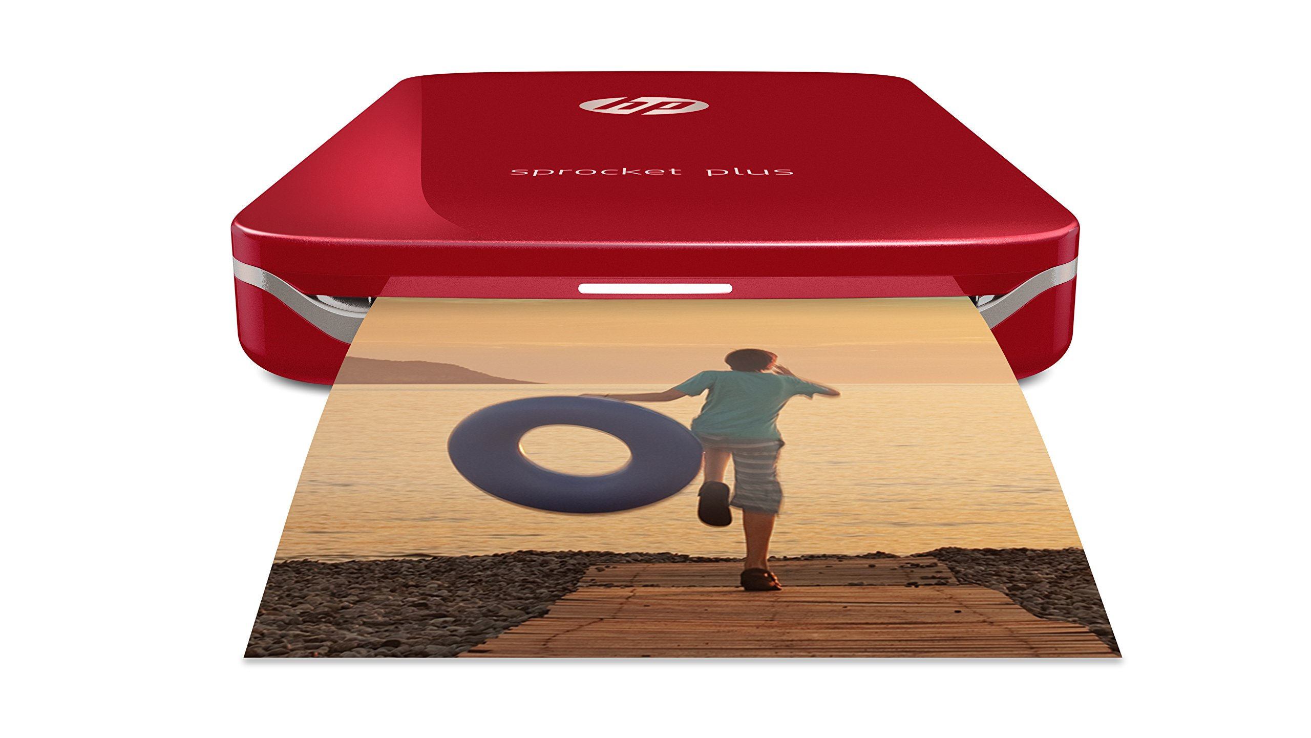 HP Sprocket Plus Instant Photo Printer, Print 30% Larger Photos on 2.3x3.4'' Sticky-Backed Paper – Red (2FR87A)