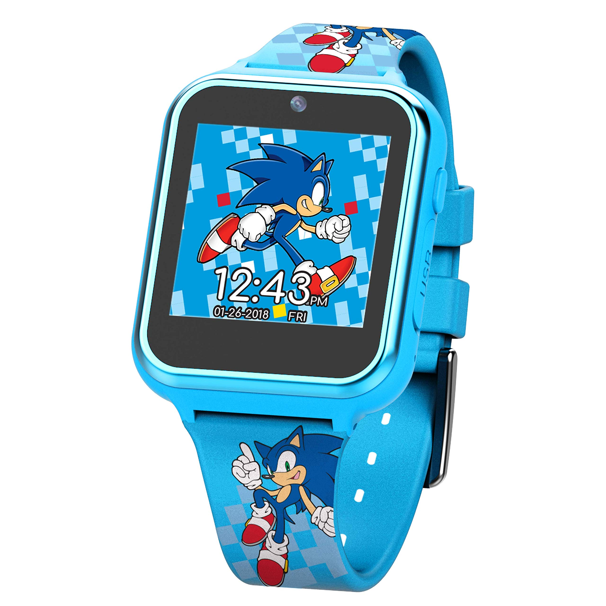 Sonic the Hedgehog Touch-Screen Smartwatch, Built in Selfie-Camera, Non-Toxic, Easy-to-Buckle Strap, Blue Smartwatch - Model: SNC4055AZ by Sonic the Hedgehog