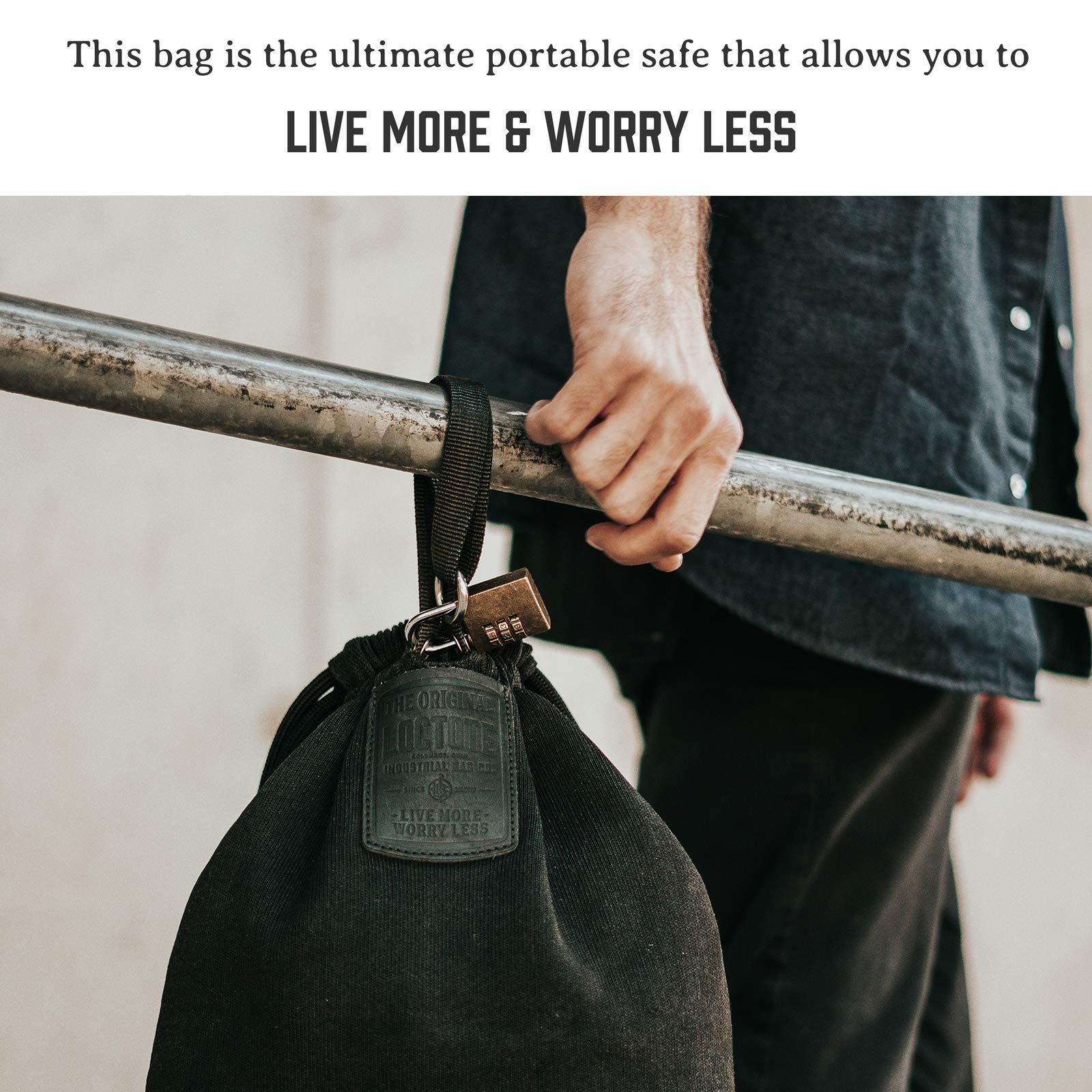 LOCTOTE Flak Sack II - The World's Toughest Theft-Resistant Drawstring Backpack (Stealth Black)