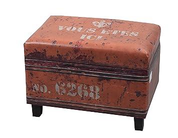 NACH FJ 14 1042 Rectangle Faux Leather Storage Stool/Ottoman, Orange