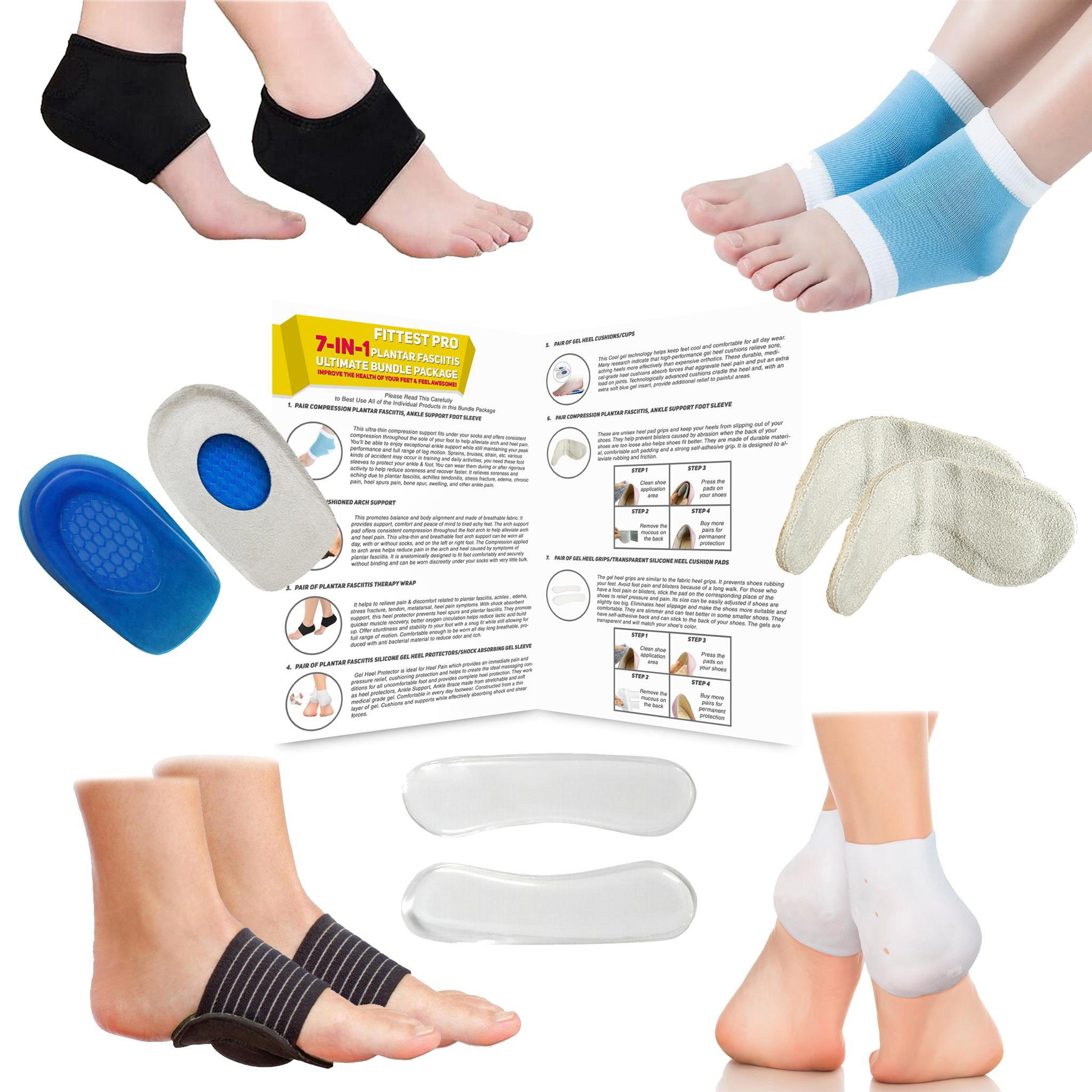 Fittest Pro Plantar Fasciitis Foot Compression Sleeve Package - Ankle & Foot Pain Relief Socks - Heel & Arch Support, Heel Pads, Heel Cups And Grips, Shoe Inserts & Insoles - (Pack of 14)