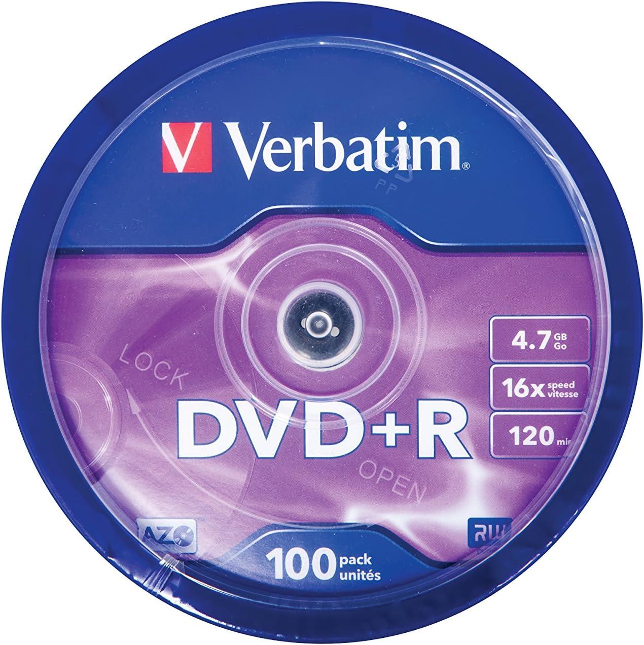 Verbatim 43551 - DVD+R vírgenes (100 Unidades, 4.7 GB, 16x) Multicolor: Verbatim: Amazon.es: Informática