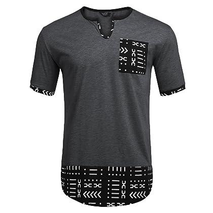 b17bc68f0 COOFANDY Mens Hipster Hip Hop Aztec Graphic Print Longline T-Shirt Stylish  Designs V Neck Tee Shirt,Dark Grey,X-Large