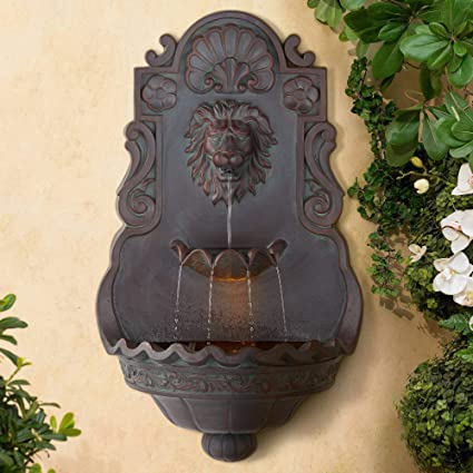Lion Head Roman Outdoor Wall Water Fountain With Light 31 1 2 High 2 Tiered For Yard Garden Patio Deck Home John Timberland Wall Mounted Garden Fountains Garden Outdoor