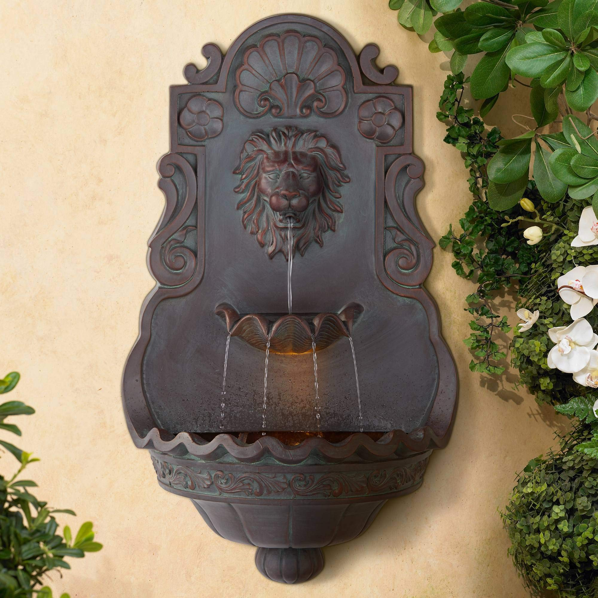 """Lion Head Roman Outdoor Wall Water Fountain with Light 31 1/2"""" High 2 Tiered for Yard Garden Patio Deck Home - John Timberland"""