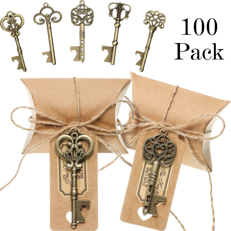 100 Sets Vintage Key Bottle Openers Wedding Favor Souvenir Gift Set Pillow Shape Candy Gift Box Escort Thanks Tag Sticker Hemp Rope (Antique Bronze) by Jovitec