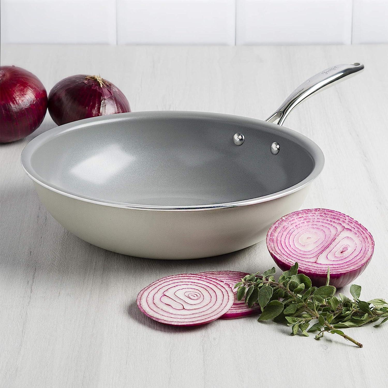 Made Without PFOA Goodful Non-Stick Ceramic Wok 11 Inch Flat Bottom for Stir Fry Cream Dishwasher Safe