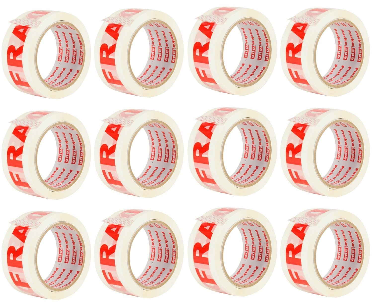 Packatape Fragile Packaging Tape for Parcels and Boxes. This 12 roll Pack of Heavy Duty Fragile Packing Tape Provides a Strong, Secure and Sticky Seal for Your Boxes, 12 Rolls 48MM x 66M
