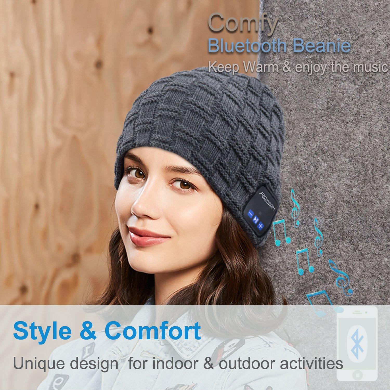 Nero Qshell Cappello musica con la cuffia senza fili Bluetooth auricolare stereo speaker mani Mic libera regalo di compleanno di Natale per le donne del Mens esterno di inverno Sci Snowboard