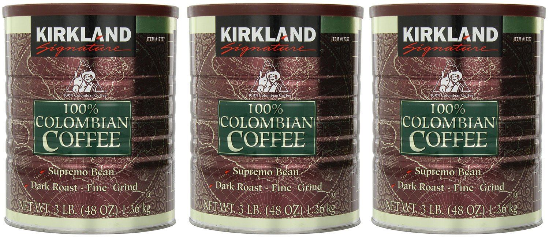 Signature Ozyjxw 100% Colombian Coffee Supremo Bean Dark Roast-Fine Grind, 3Pack of 3 Pound Dark Roast