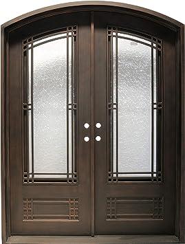 Simart Puertas de hierro forjado doble exterior entrada frontal doble puerta de cristal de hierro forjado: Amazon.es: Bricolaje y herramientas