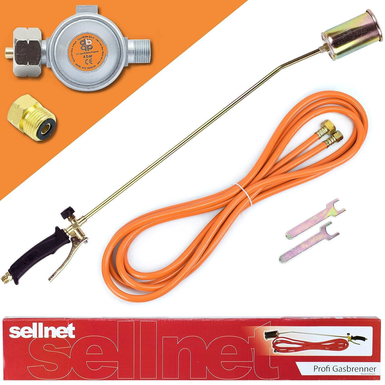 Gasbrenner 58KW Unkrautvernichter Brenner Dachbrenner Mitteldruckregler SN0283R Sellnet