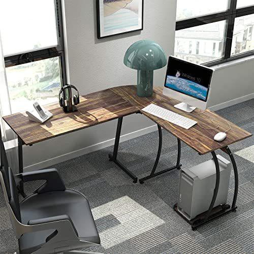 DEWEL L Shaped Desk Reversible Corner Computer Desk 59 x51 Study Writing Table