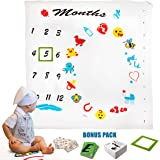 Baby Monthly Milestone Blanket Set, Large 100% Premium Muslin Cotton - Backdrop Photo Prop, Cool Baby Shower Gift for Boy or Girl, Newborn Swaddle Blanket - Top Value: Frame, Letter Cards, Baby Bibs