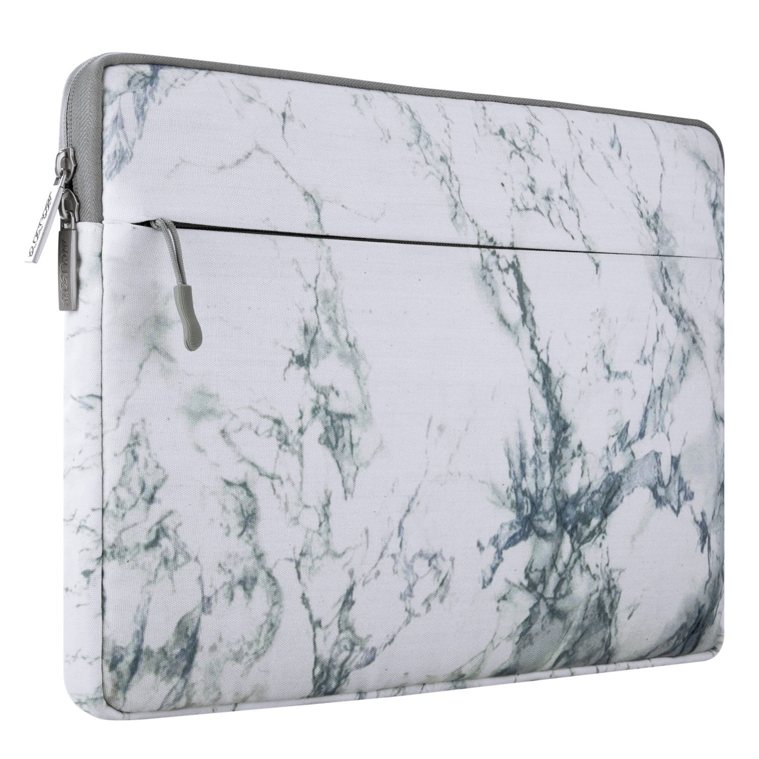 Mosiso Protective Laptop Sleeve for 15 Inch New MacBook Pro with Touch Bar A1990 & A1707 2018 2017 2016, Also Fit 14 Inch Notebook Computer Ultrabook, Canvas Fabric Carrying Bag Case Cover, White Marble Pattern