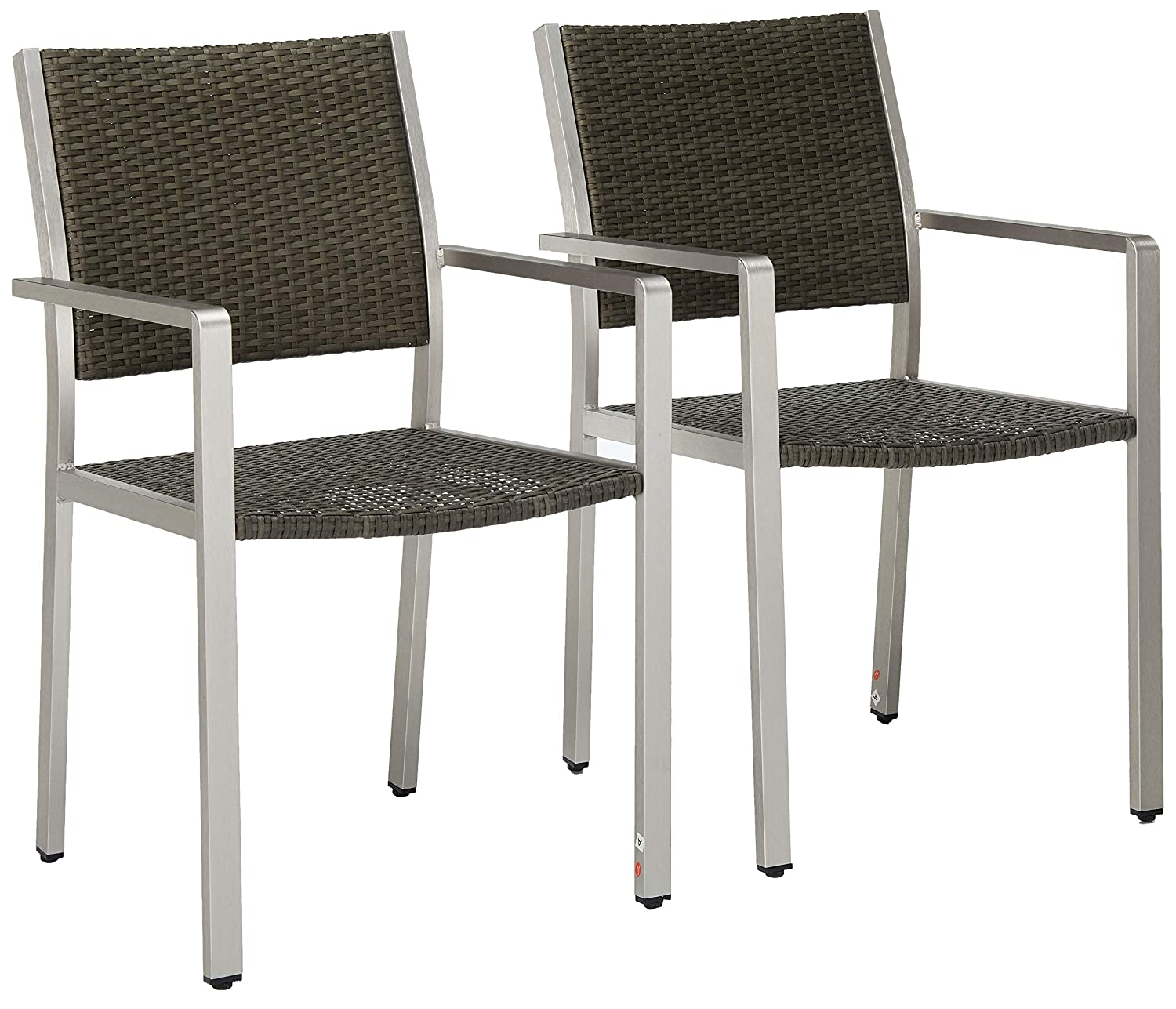 Christopher Knight Home Coral Bay Outdoor Wicker Dining Chairs w/Aluminum Frame (Set of 2), Grey