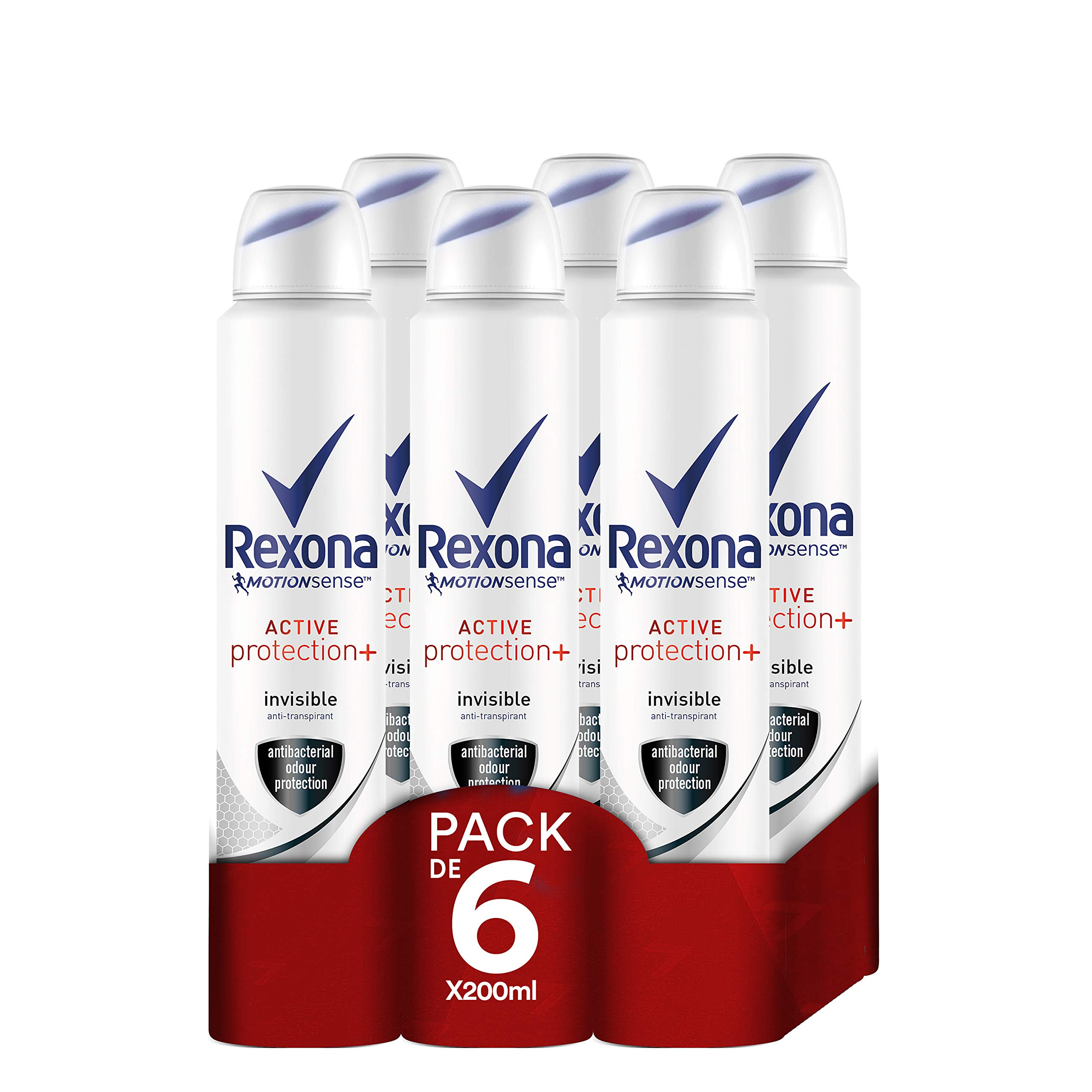 Rexona Active Pro+ Desodorante Antitranspirante Invisible Mujer - Pack de 6 x 200 ml (Total: 1200 ml)