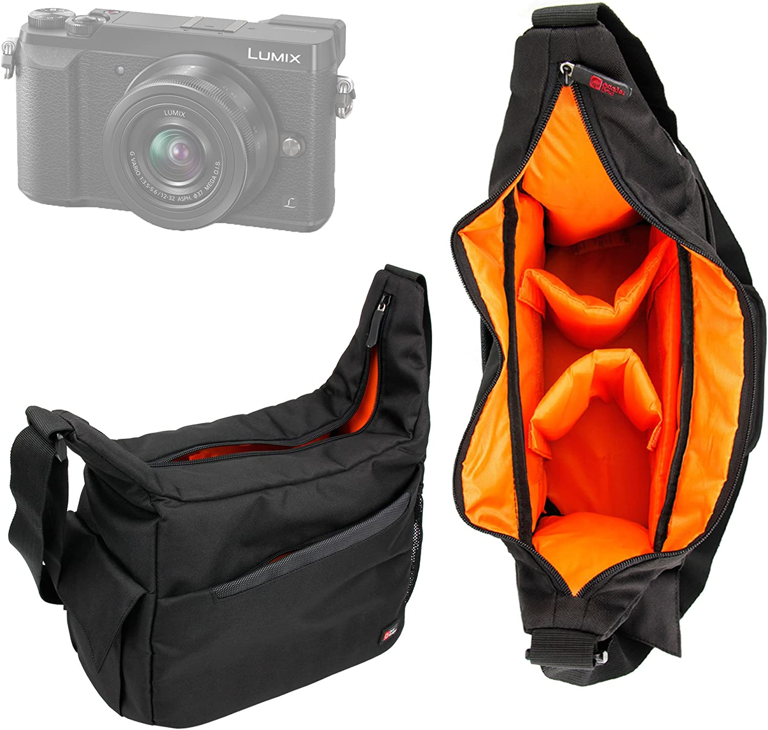 Compatible with Panasonic HC-VX1K /& HC-WXF1 Camcorders DURAGADGET Black /& Orange Durable Shoulder Sling Bag