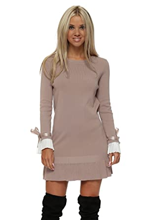 f7a217a00b6 Laetitia Mem Beige Contrast Pleated Cuffs Frill Hem Jumper Dress One Size  Beige  Amazon.co.uk  Clothing
