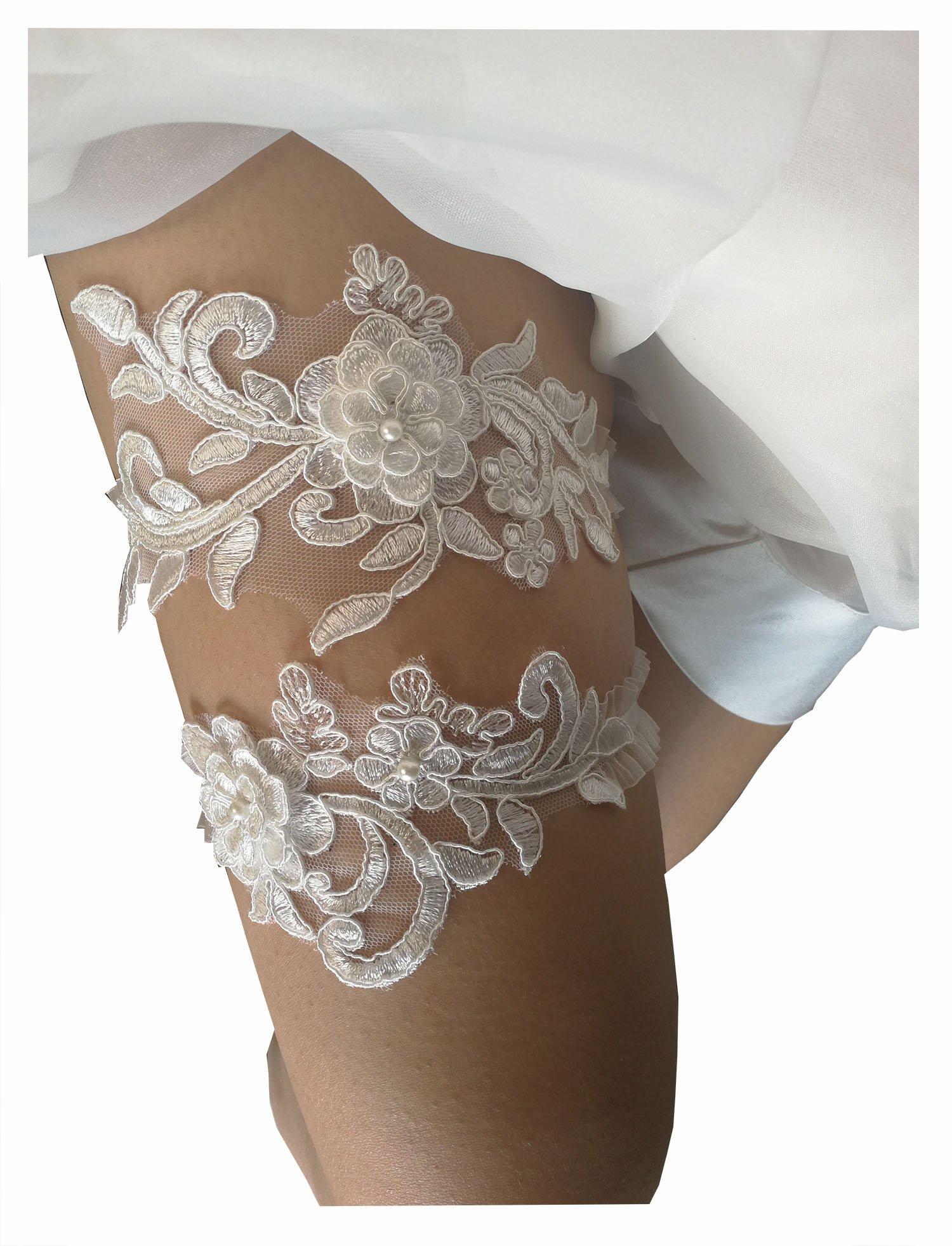Wedding garters for bride sequins lace bridal garter set (ivory)