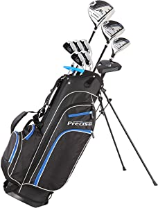 Precise M3 Men's Complete Golf Clubs Package Set Includes Driver, Fairway, Hybrid, 6-PW, Putter, Stand Bag, 3 H/C's - Right Handed - Regular, Petite or Tall Size