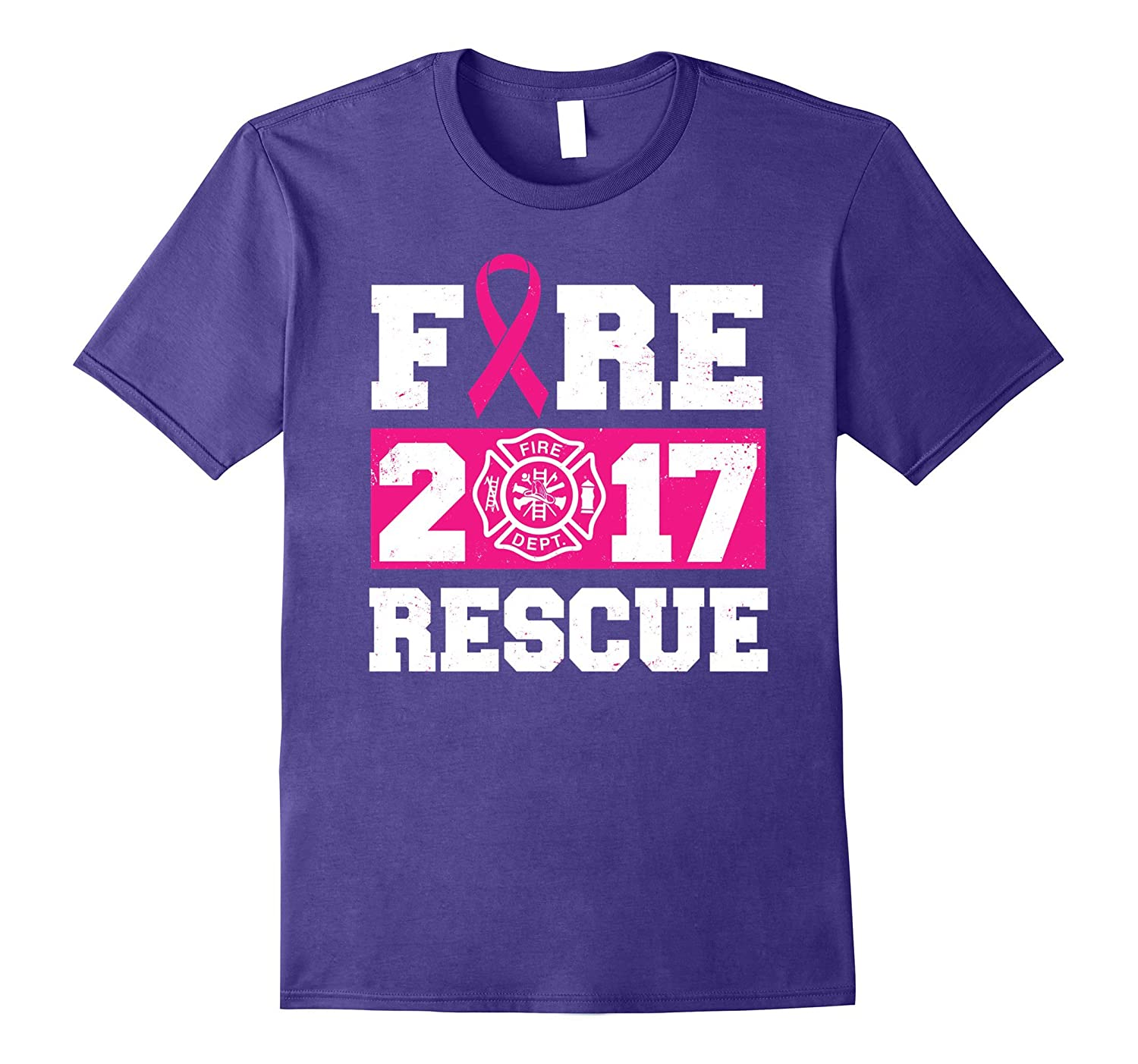 Pink Ribbon 2017 Rescue Firefighter Breast Cancer T-shirt-T-Shirt