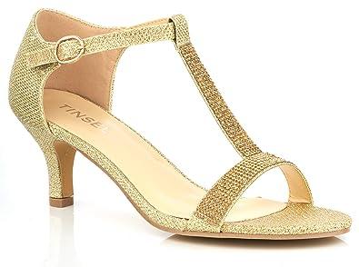 UV0055 New Ladies T-Bar Satin Low Kitten Heel Wedding Evening Sandals (UK 3