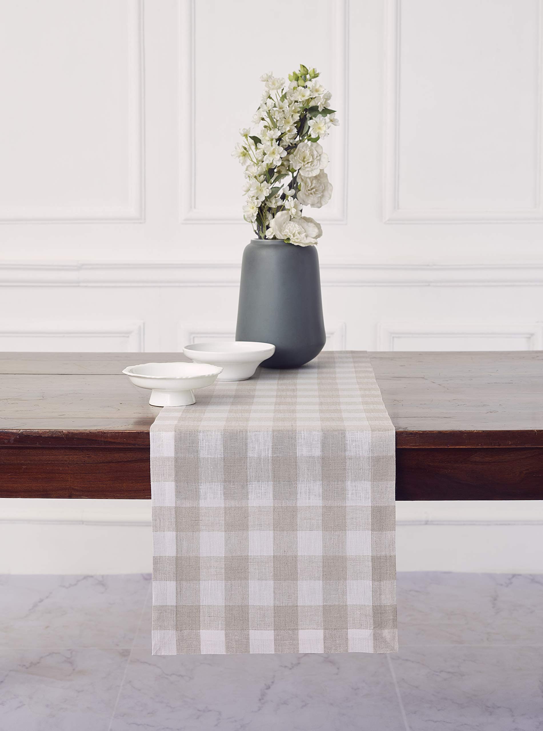 Solino Home 100% Pure Linen Checks Table Runner - Natural & White Check Table Runner - 14 x 72 Inch Runner for Dinner, Indoor and Outdoor Use by Solino Home (Image #4)