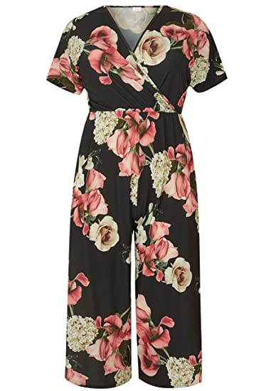 48e7ed9602 Yours Clothing Women s Plus Size Floral Culotte Jumpsuit Black   Amazon.co.uk  Clothing