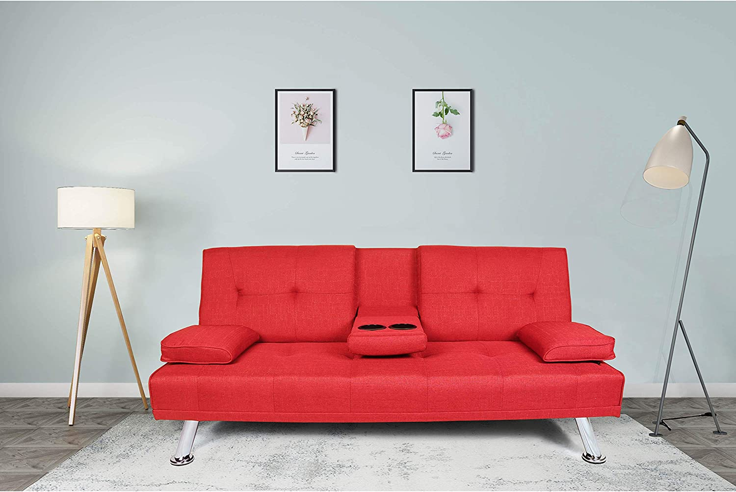G-house Faux Leather Modern Convertible Folding Futon Sofa Bed Recliner Couch with Metal Legs and 2 Cup Holders Red