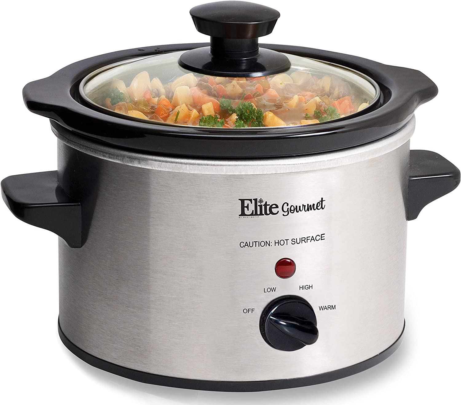 Elite Gourmet Lid & Ceramic Pot Slow Cooker with Adjustable Temp, Entrees, Sauces, Stews & Dips, Dishwasher Safe Glass Lid & Crock, 1.5 Quart, Stainless Steel
