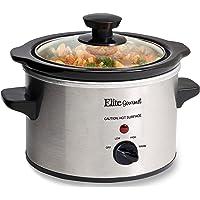 Elite Gourmet Lid & Ceramic Pot Slow Cooker with Adjustable Temp, Entrees, Sauces, Stews & Dips, Dishwasher Safe Glass…