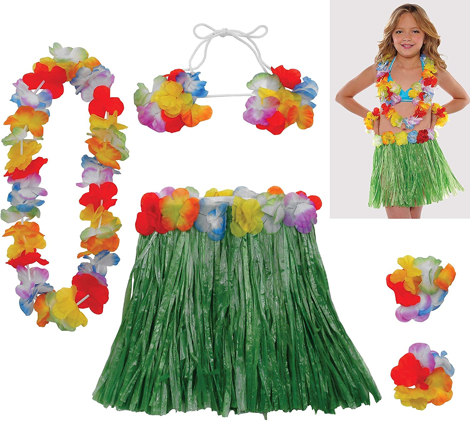 Hawaiian Hula Skirt Party Dress Up Costume Tropical Luau Leis Grass Adult /& Kid