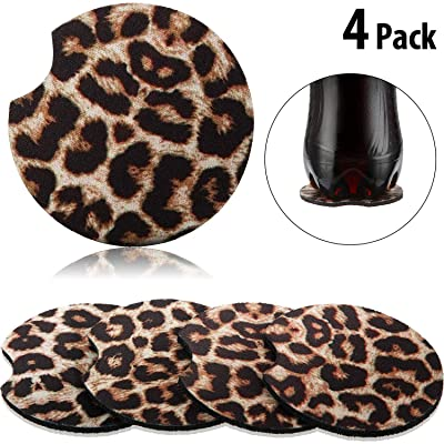 2.56 Inch Leopard Car Coasters for Drinks Neoprene Cup Coaster Rubber Car Cup Pad Mat Car Accessories for Car Living Room Kitchen Office to Protect Car and Furniture (4): Automotive