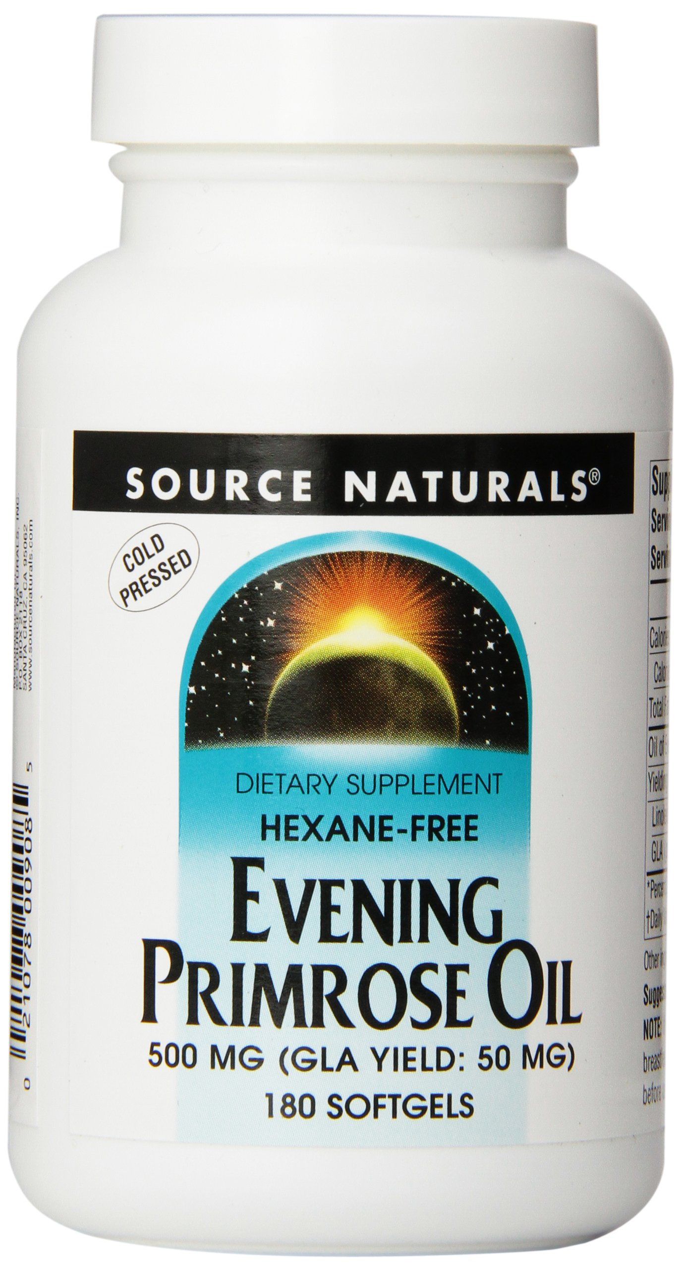 Source Naturals Evening Primrose Oil 500mg (50mg GLA) Cold-Pressed, Hexane-Free Source of Fatty-Acid Gamma-Linolenic & Linoleic Acid - 180 Softgels