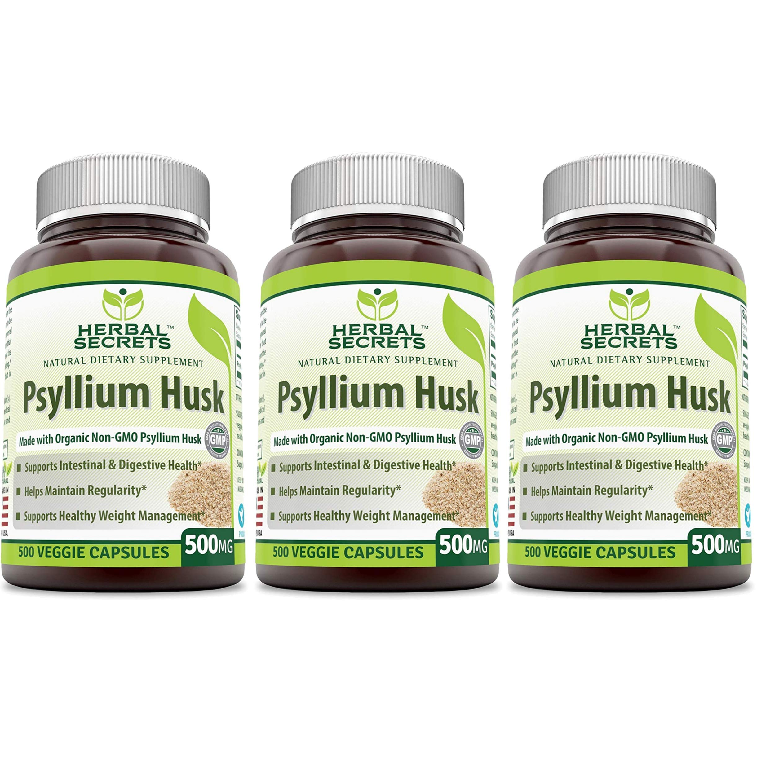 Herbal Secrets Psyllium Husk 500 Mg 500 Veggie Capsules (Pack of 3-500 Capsule Bottles)