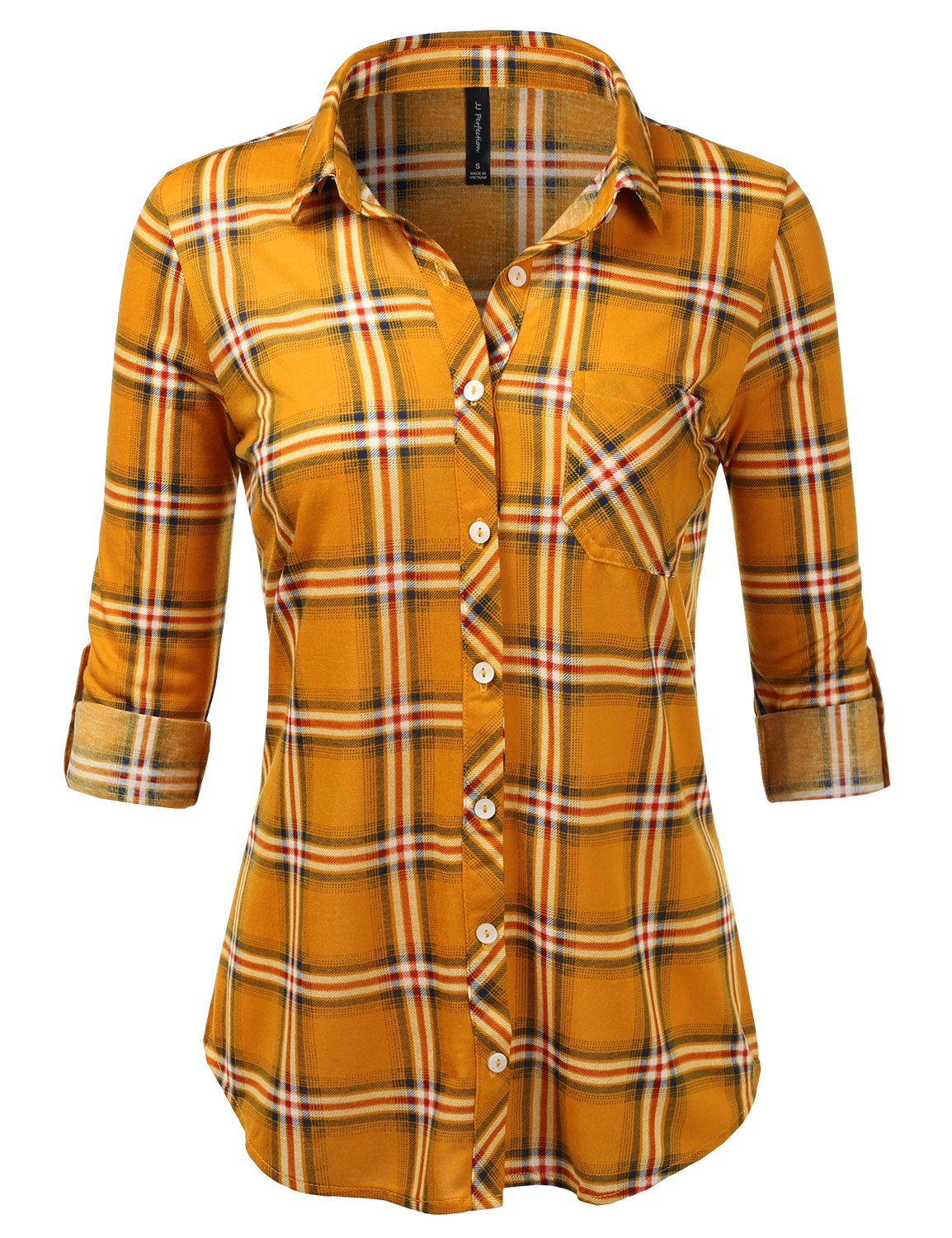 JJ Perfection Womens Long Sleeve Collared Button Down Plaid Flannel Blouse Shirt MUSTARDNAVY 2XL