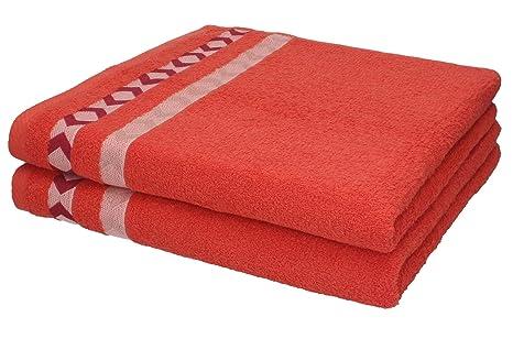 BETZ 2 unidades set toallas de baño serie SCOTLAND color rojo uni 2 toallas de baño