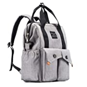 Catlin Go Go Diaper Bag Backpack Multi-Function Waterproof for Girl and Boys Large Capacity Stylish Durable and Insulated (Gray)