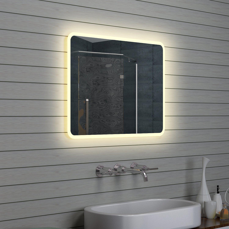 Lux-aqua Design Miroir mural Miroir lumineux à LED pour salle de bain 80 x 60 cm
