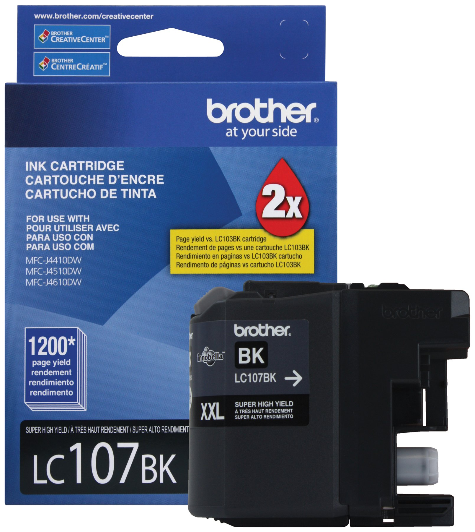 Brother Printer LC107BK Super High Yield Cartridge Ink, Black
