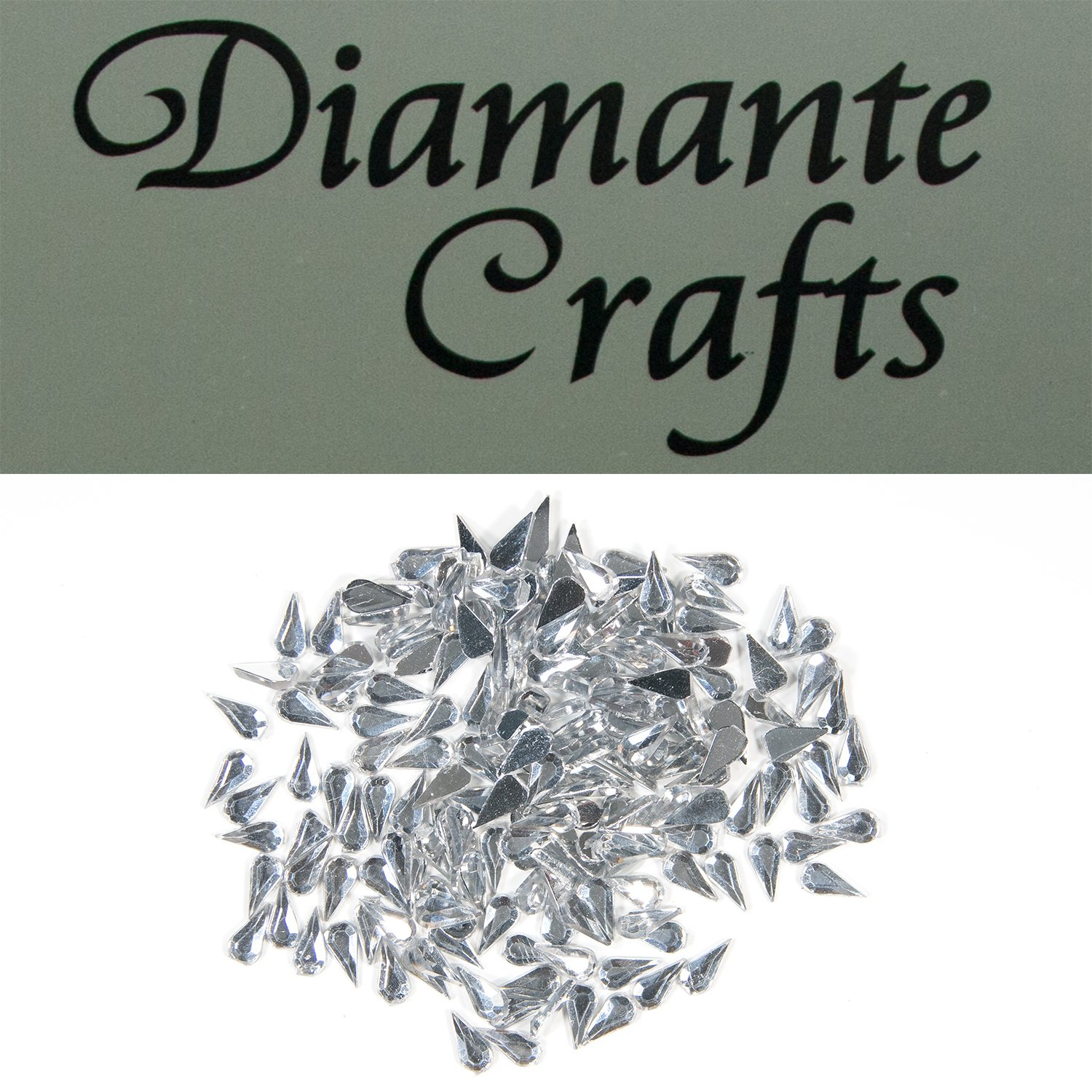 200 x 4mm Clear Teardrops Diamante Loose Flat Back Rhinestone Body Gems - created exclusively for Diamante Crafts